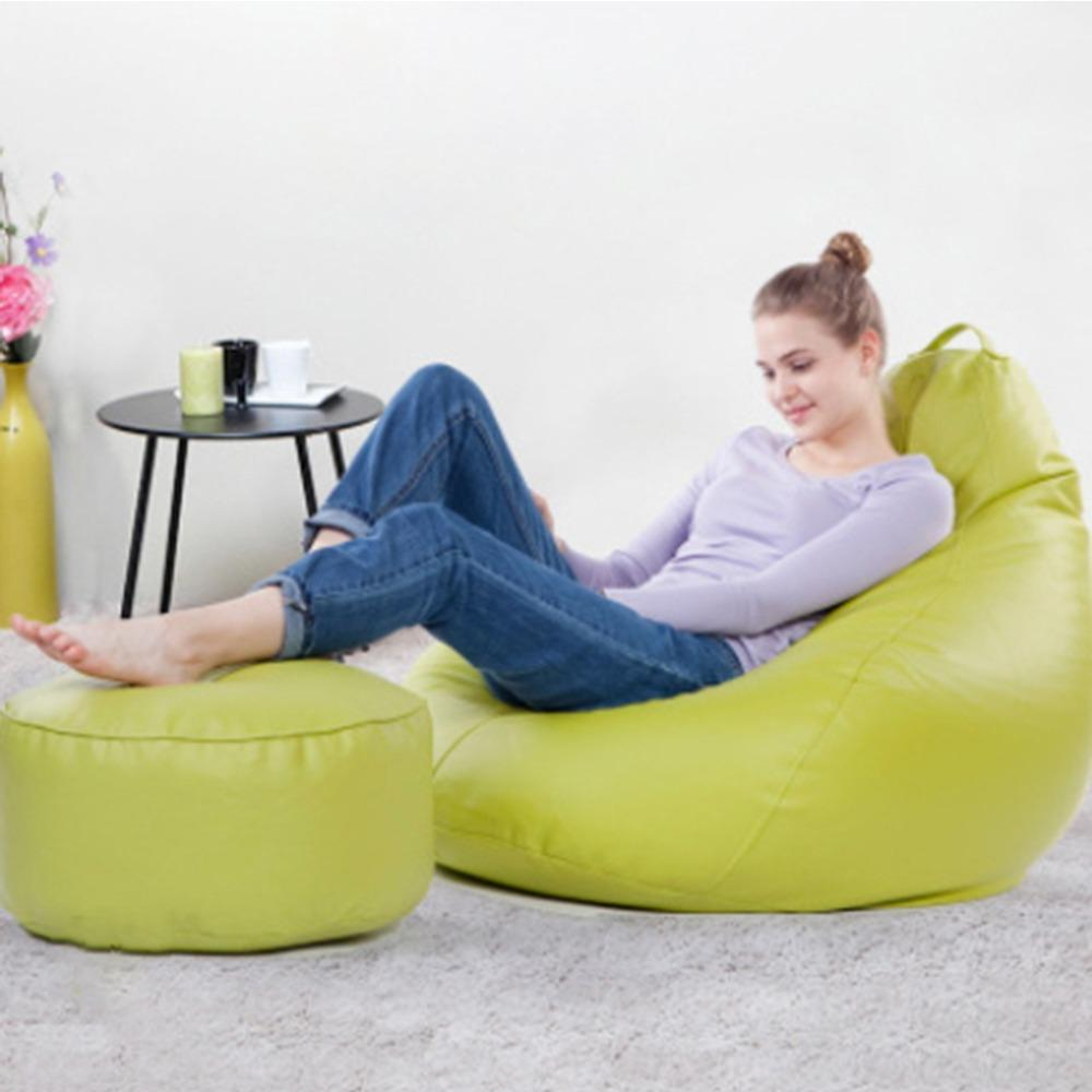 JIJI Nano Bean Bag With Leg Stool ( Leather ) (Bean Bag)-- - Beanbag/ Bean bag Chair /Styrofoam particles filled/ Fabric outer layer/ Washable / small sofa (SG)