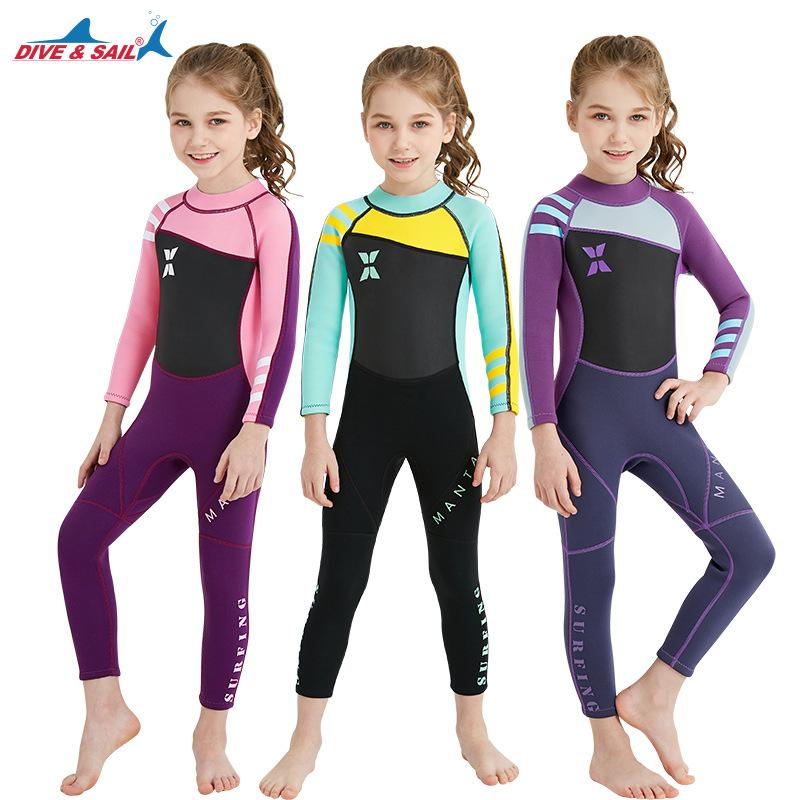 5ea8e24ae 2018 Neoprene Long Sleeve Wetsuit Kids Boy Girl Diving Suit Children  Swimsuit Wet Suit Rashguard Swim