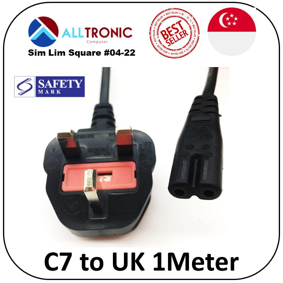 Power Cable C7 to UK 3pin 1 Meter Figure 8 Power Cord with Safety Mark