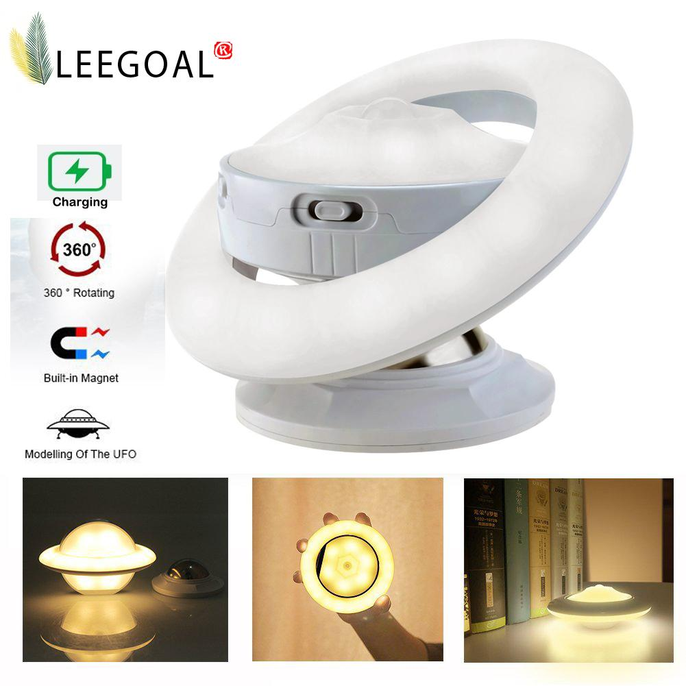 leegoal UFO Motion Sensor Night Light With USB 360 Degree Rotatable LED Night Lamp Intelligent Creative Night Light - intl Singapore