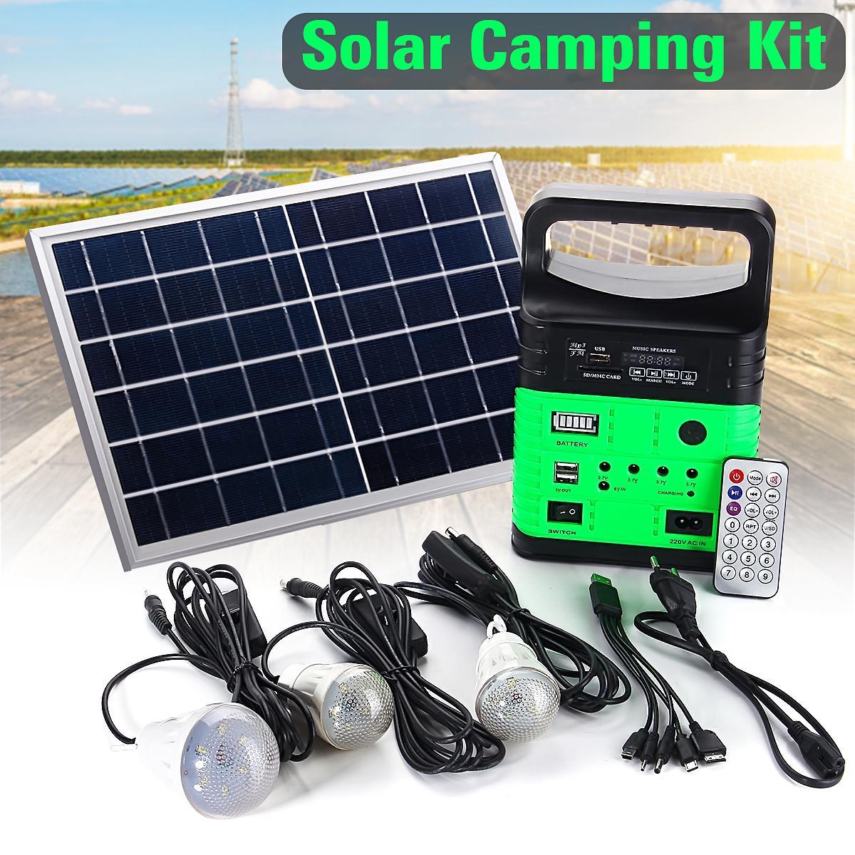 Solar Power System Generator Portable Energy-saving Light Bulb Flashlight Yellow - intl