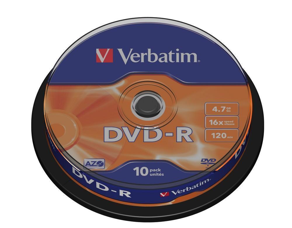 Verbatim DVD-R AZO 10pcs per cake box 4.7gb 16x 120min