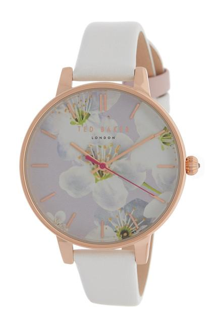 243bf5219 Ted Baker Women s Floral Dial Leather Strap Watch TE50493002