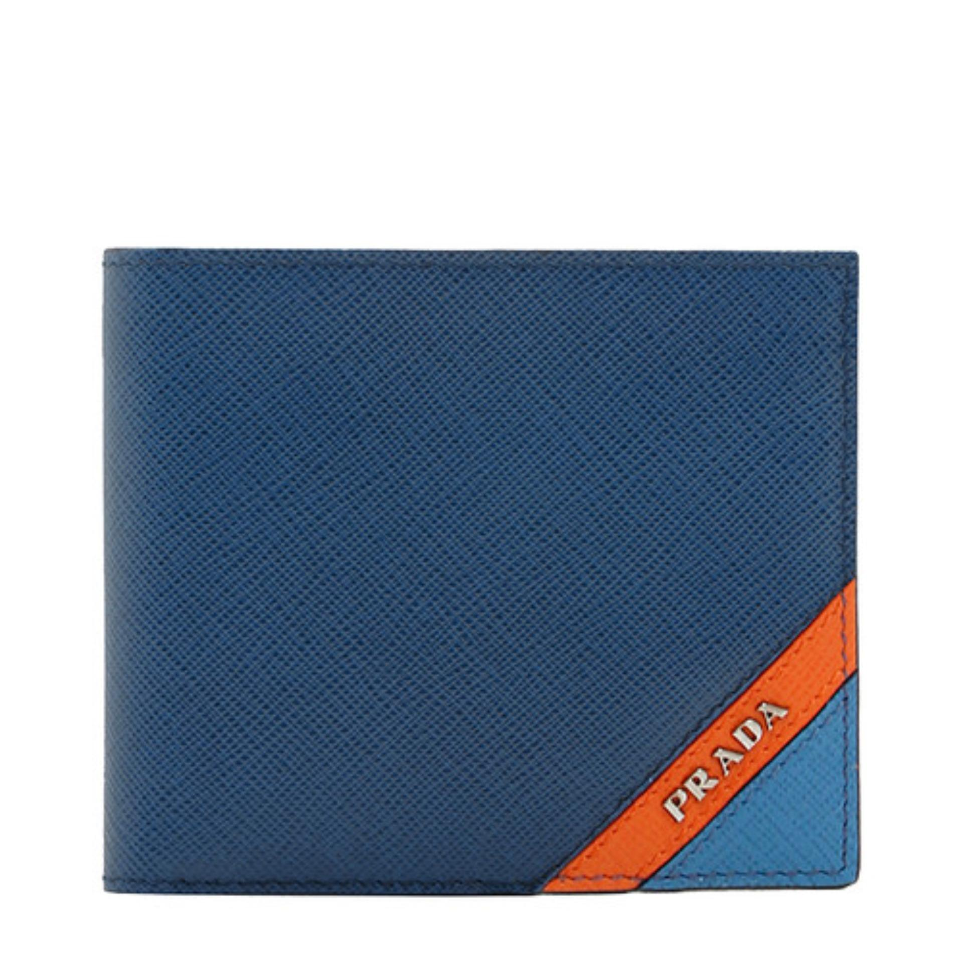 4ac1ffd0c2d2 Prada Saffiano Striped Bifold Wallet With Coin Pouch (Baltico/Rosso) #  2MO7382EGOF0UDP