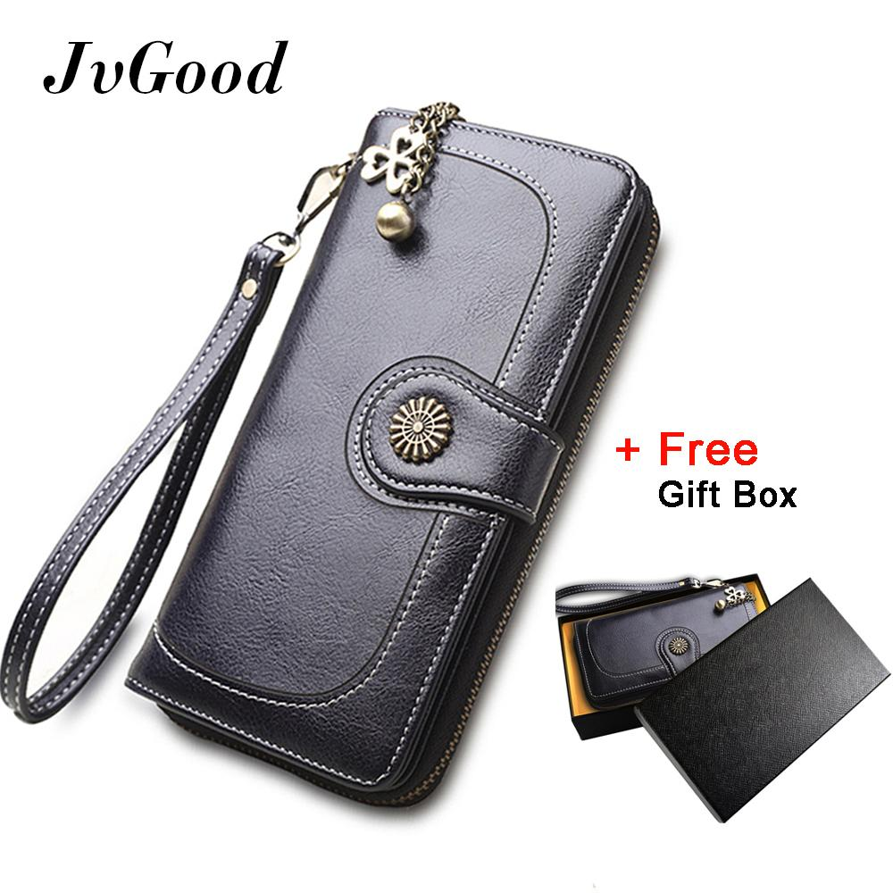The Cheapest Jvgood Vintage Oil Wax Leather Wallets Women Long Purse Phone Pouch Zipper Purse Women Clutch Purses Coin Card Holders Gift Box Present Box Online