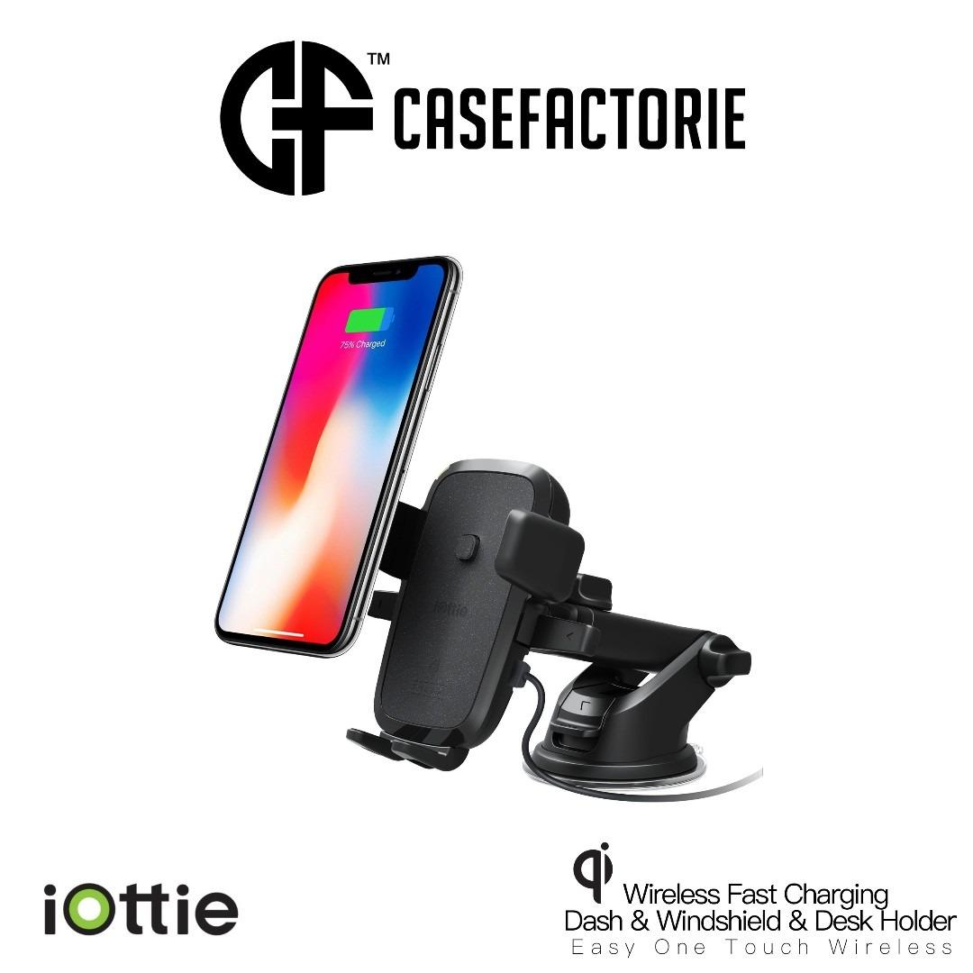 Iottie Easy One Touch Wireless Fast Charging Dash Windshield Desk Mount Holder For Mobile
