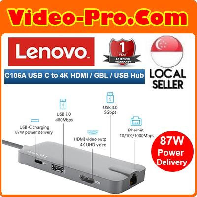 Lenovo C106A USB C to 4K HDMI, Gigabit Ethernet port (RJ-45 port), 87W Power Delivered USB-C charging port, 2 x USB 3.0 Hub and 1 x USB 2.0 Hub
