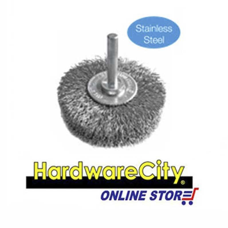 Lion Shafted Stainless Steel Wire Wheel Brush - 63mm x 6mm [63mmLion]
