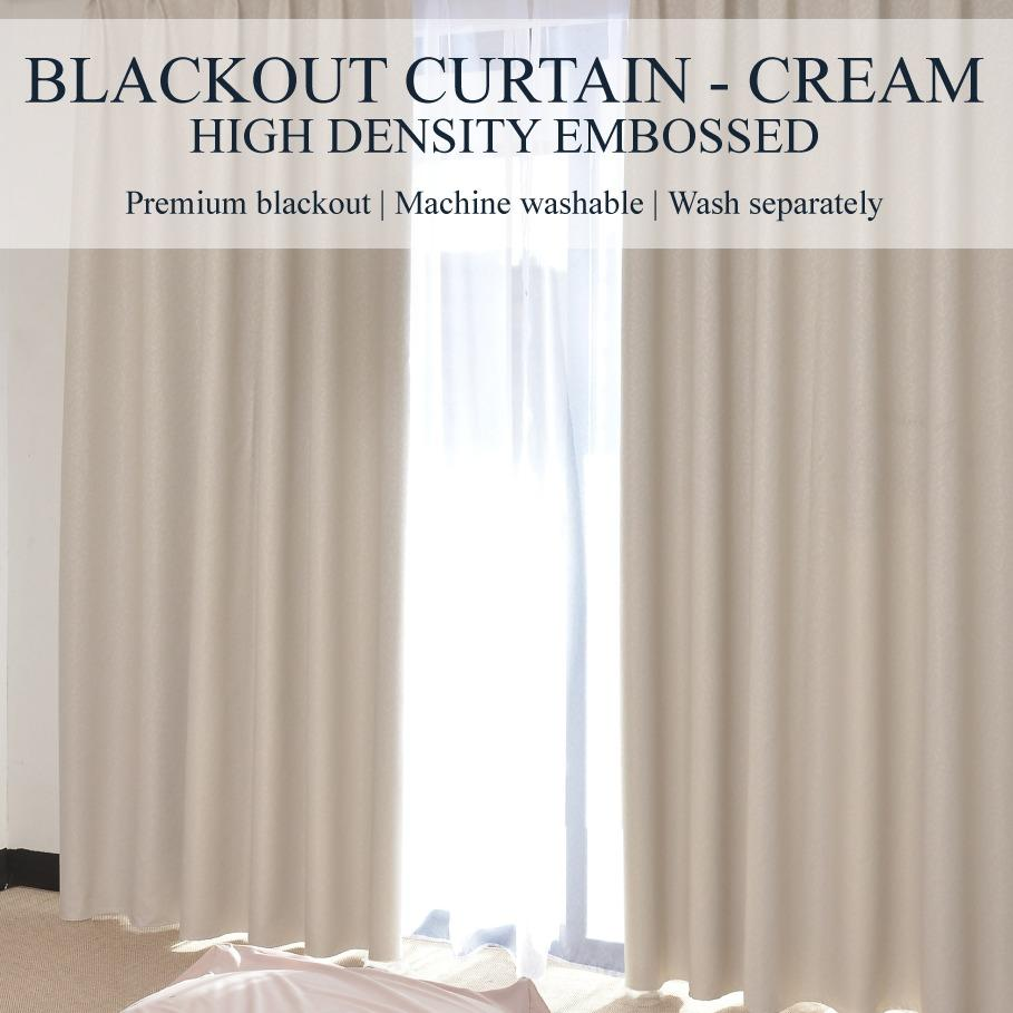 SOL HOME ® 2pcs x 200cm x 250cm (w x h) - Eyelet High Density - SIZE L - 99% Blackout Curtains / Blockout Curtains by ShopOnlineLah