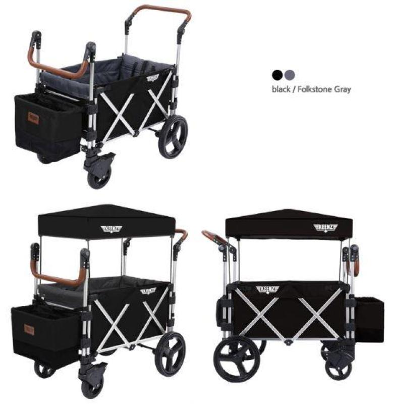 Keenz 7S Premium Deluxe Foldable Wagon-Stroller (Black / Folkstone Grey) - Designed and Engineered in Korea Singapore