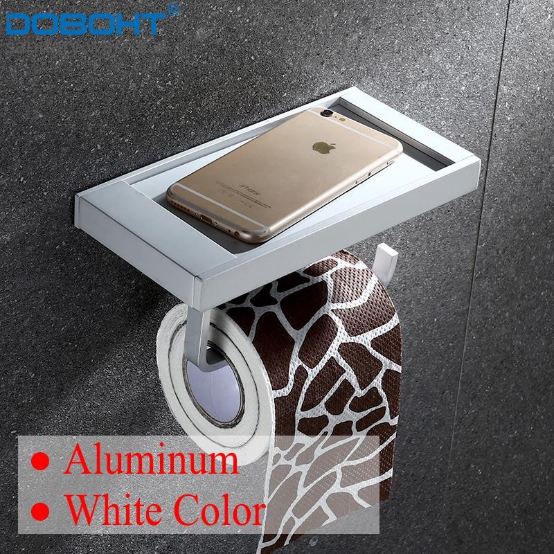 DOBOHT Aluminum Bathroom Bedding Toilet Roll Holder Toilet Paper Holder with Phone Holder - intl
