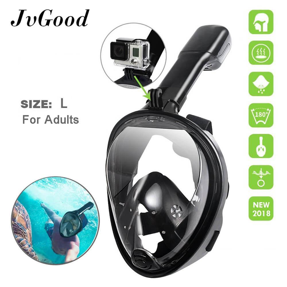 JvGood Snorkel Mask, Original Full Face Snorkeling and Diving Mask L with 180° Panoramic