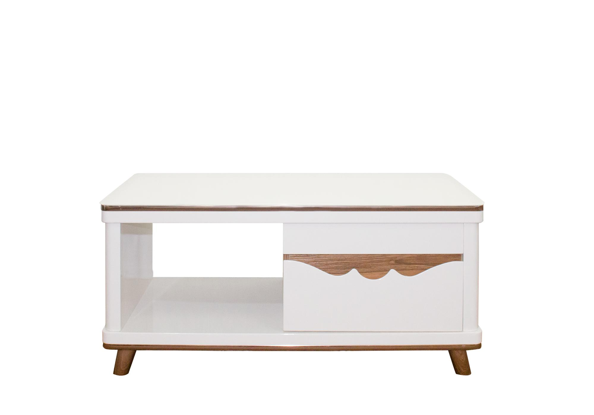 Rectangle Coffee Table - White Color - Drawer - Free Delivery - CT1130