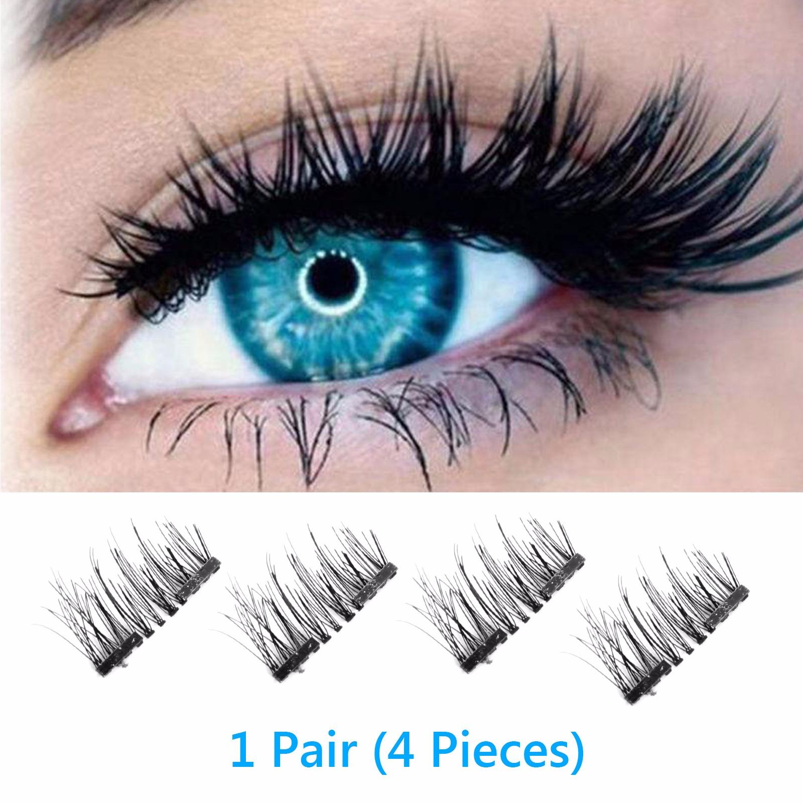 Magnetic Eyelashes False, 4pcs/pair Magnetic 3d Eyelashes Double Handmade Natural False Long Eye Lash Reusable(double Magnet Eyelashes False) By Wripples.