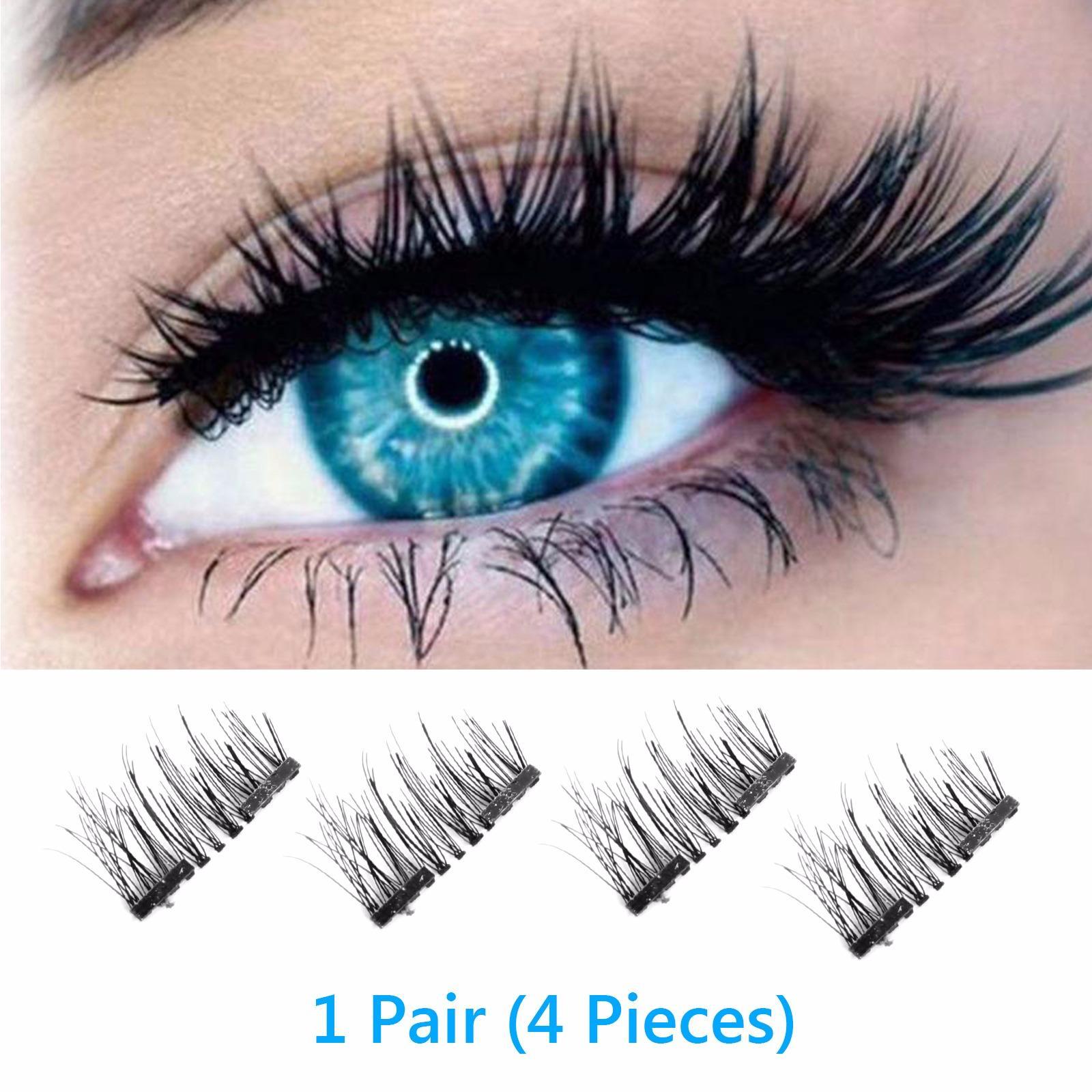 Magnetic Eyelashes False, 4pcs/pair Magnetic 3d Eyelashes Double Handmade Natural False Long Eye Lash Reusable(double Magnet Eyelashes False) By Wripples.