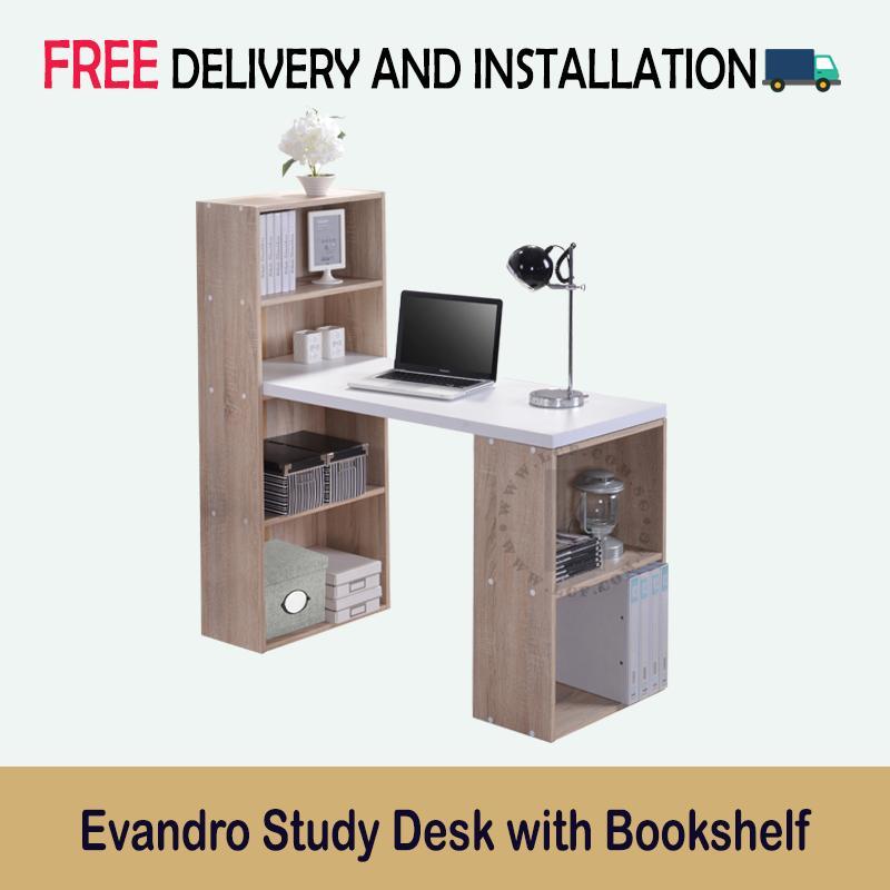 Evandro Study Compact Desk with Bookshelf