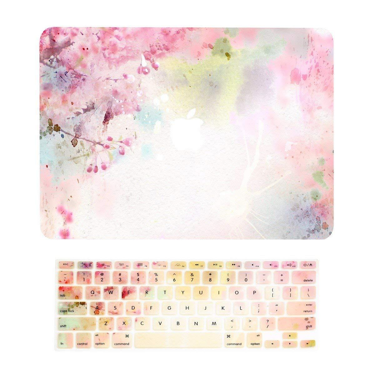Lightning Power- 2 in 1 Bundle Deal Air 13-Inch Vibrant Summer Graphics Rubberized Hard Case + Keyboard Cover for MacBook Air 13 Model A1369/A1466(Cherry Blossom Pattern)
