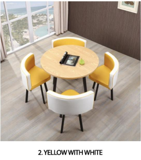 JIJI Spacious Coffee Dining Set - Leather Seat (1+4) (Free Installation) Tables / Furniture (SG)