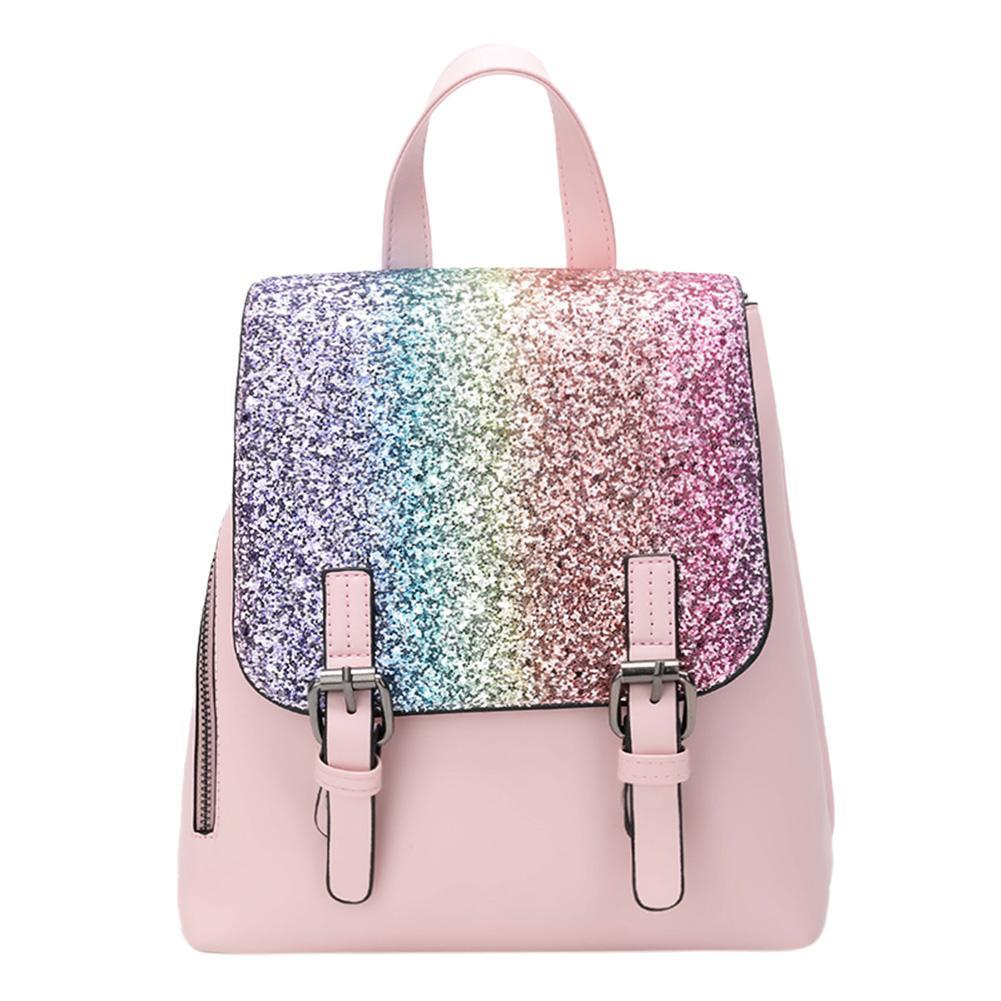Pu Leather Women Backpack Girl Sequins Travel Flap Party Shoulder Schoolbag By Sportschannel.