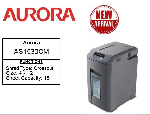 Aurora Office Shredder  AS1530CM Cross Cut 15 Sheets  Shredder *Free SHARPENING & LUBRICATING SHEETS* as1530 1530cd as 1530 cd
