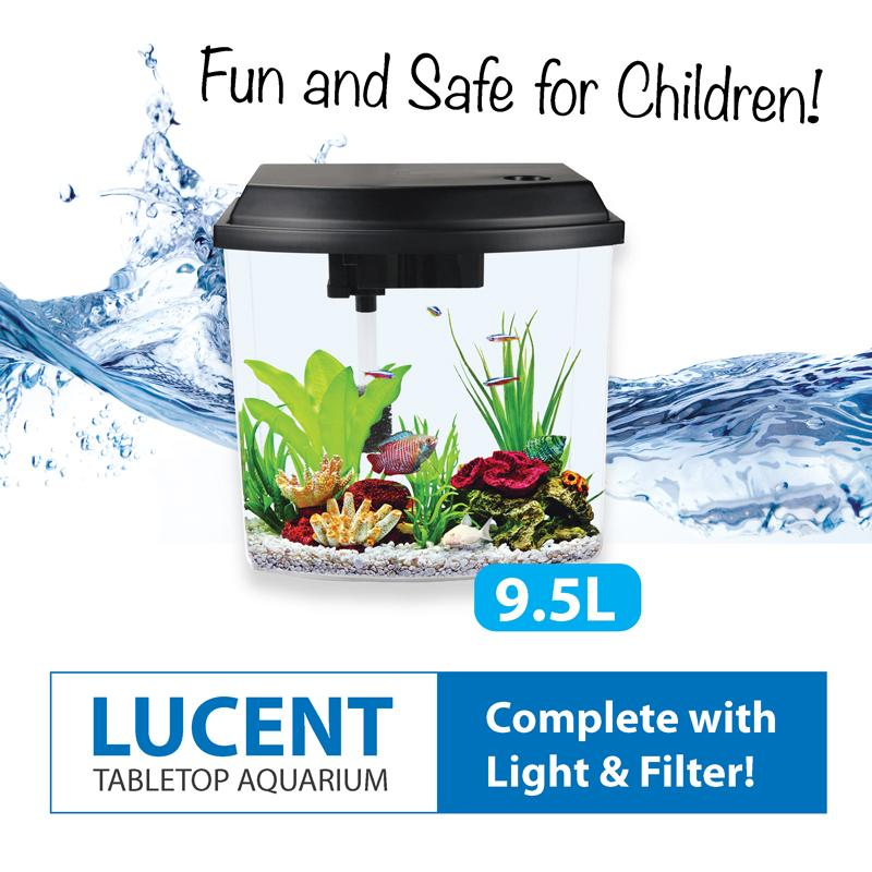 Tabletop Aquarium Fish Tank (with Led Lights And Filter) 9.5l By Fins And Paws.