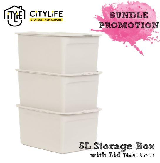 Citylife 5L Storage Box with Lid - Bundle of 3