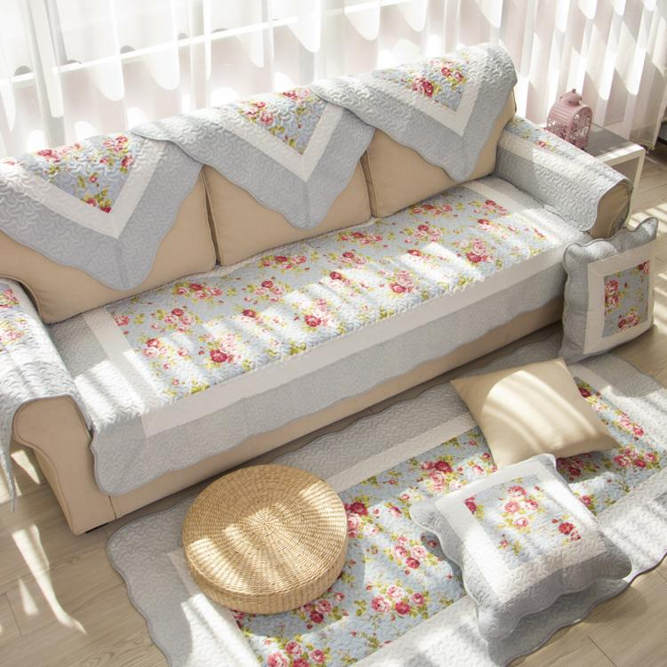 Foreign Trade Korean Style Garden Pure Cotton Fabric Quilted Sofa throw pillow Fresh Blue Rose Cotton Four Seasons Sofa Cover throw pillow