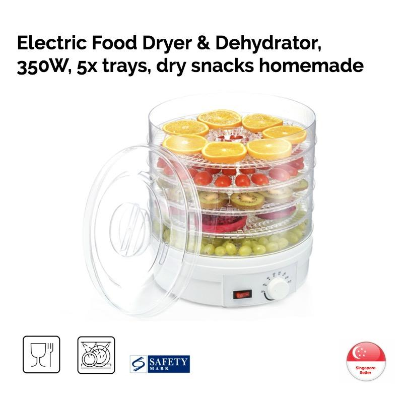 Brand New Electric Food Dryer Dehydrator Transparent 5X Trays 350W Kitchen Healthy Natural Pet Food Fruits Spices Fish Meat