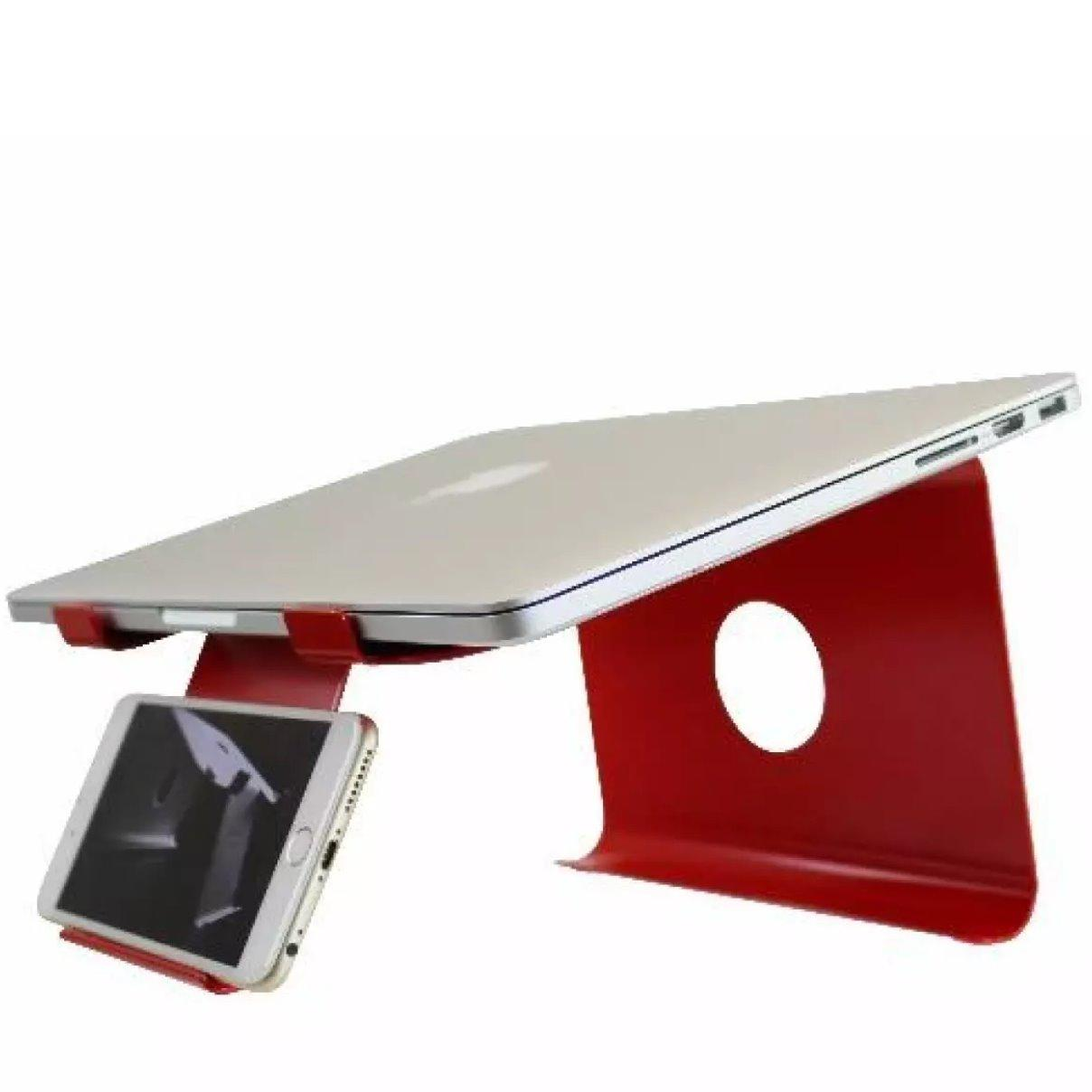 DiiZiGN THE BEST Laptop Stand with Phone Holder for Notebook, Computer, Macbook, Table, Model N, 6 Colors (Red)