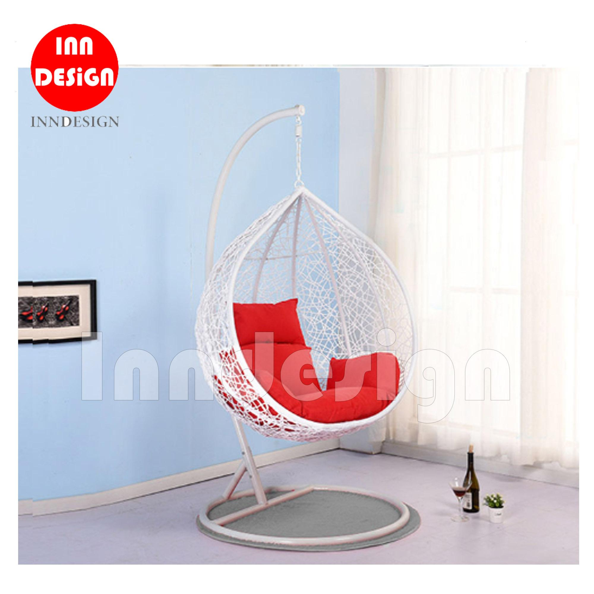 Coco Swing Chair / Lounge Chair / Relax Chair (White + Red)