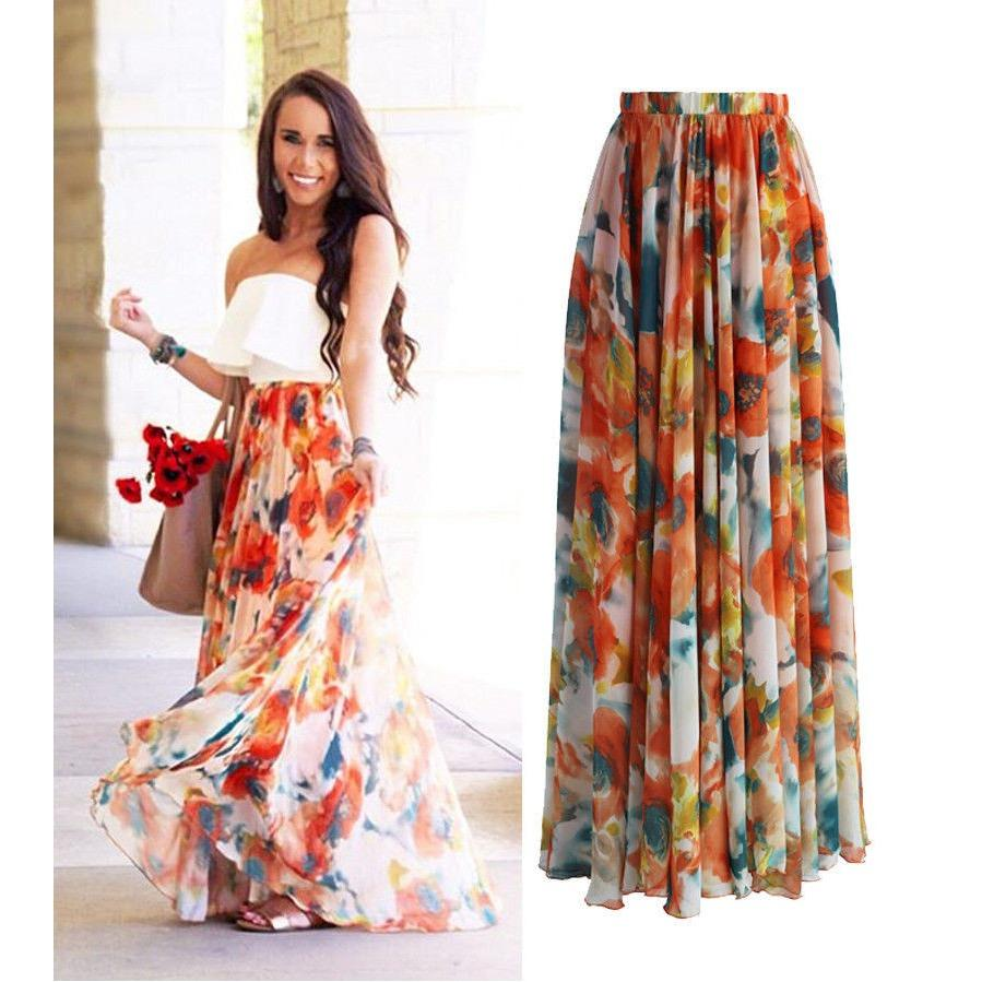 Top 10 Summer Women Chiffon Floral Boho Dress Full Skirt Evening Party Long Maxi Dress Intl
