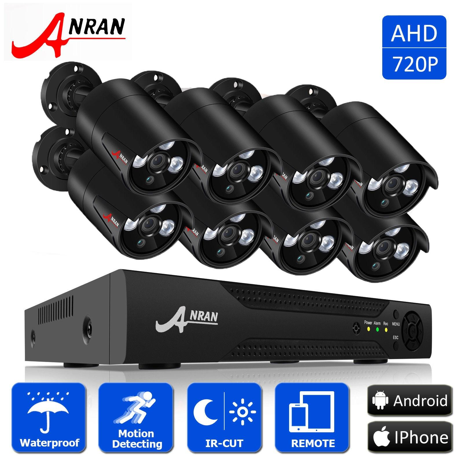 Discount Anran 8Ch 720P Ahd Home Security System With 8 Hd 1800Tvl Weatherproof Outdoor Ip Camera Anran