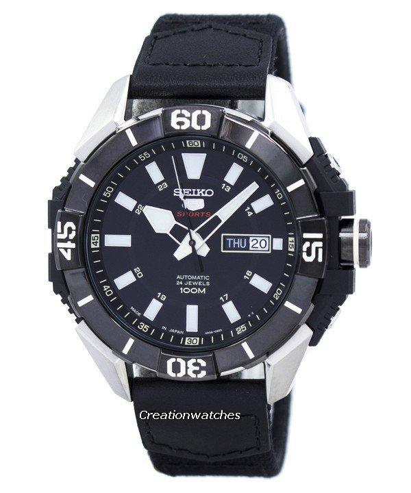 Seiko 5 Sports Automatic Japan Made Men's Black Canvas/Leather  Strap Sports SRP799J1