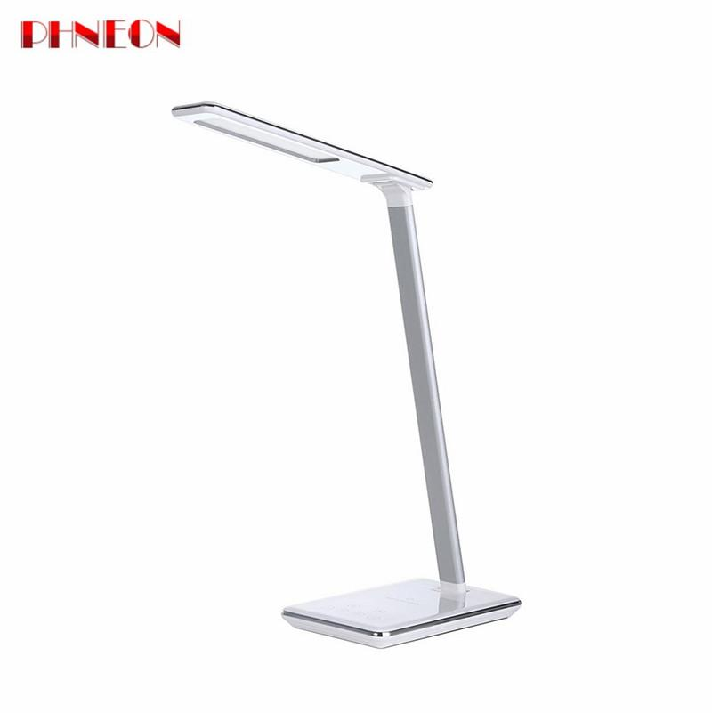 PHNEON 2018 Folding Eye Protection Led Desk Lamp 5v 2.5a Touch Sensor Led Table Night Light With Qi Wireless Desktop Charger Usb Output