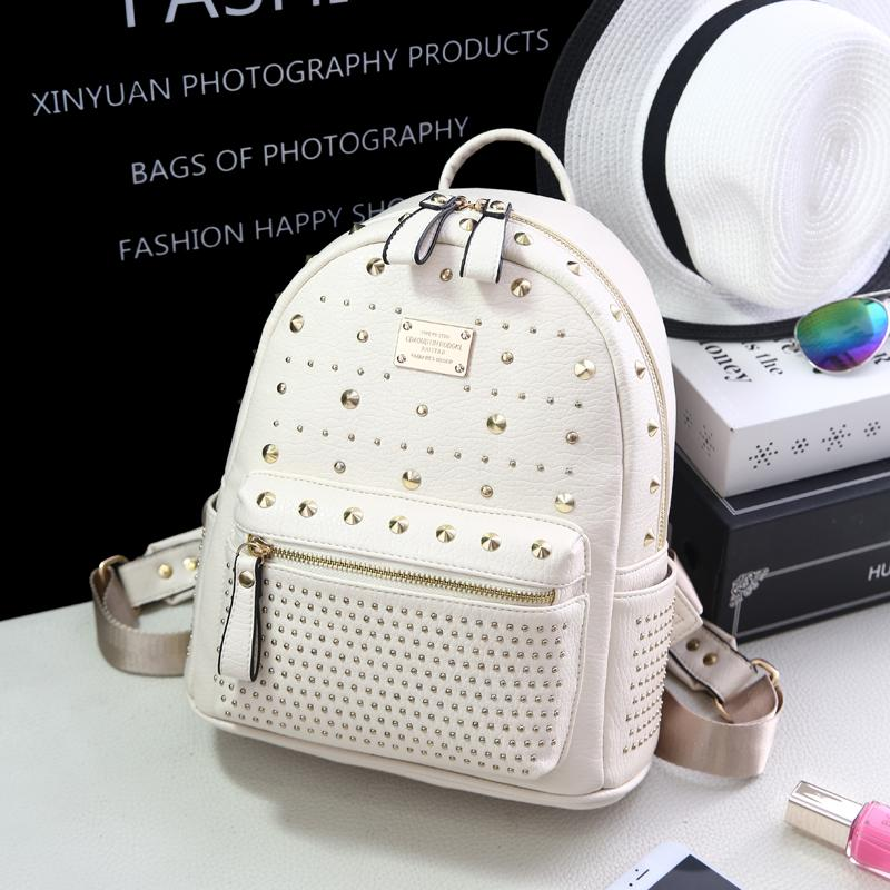 Leather Backpack Female 2019 New Style Fashion Korean Style Versatile Rivet Backpack Schoolbag Soft Leisure Travel Bag