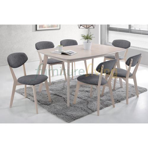 Furniture Living 1+6 Wooden Dining Set (White Wash)