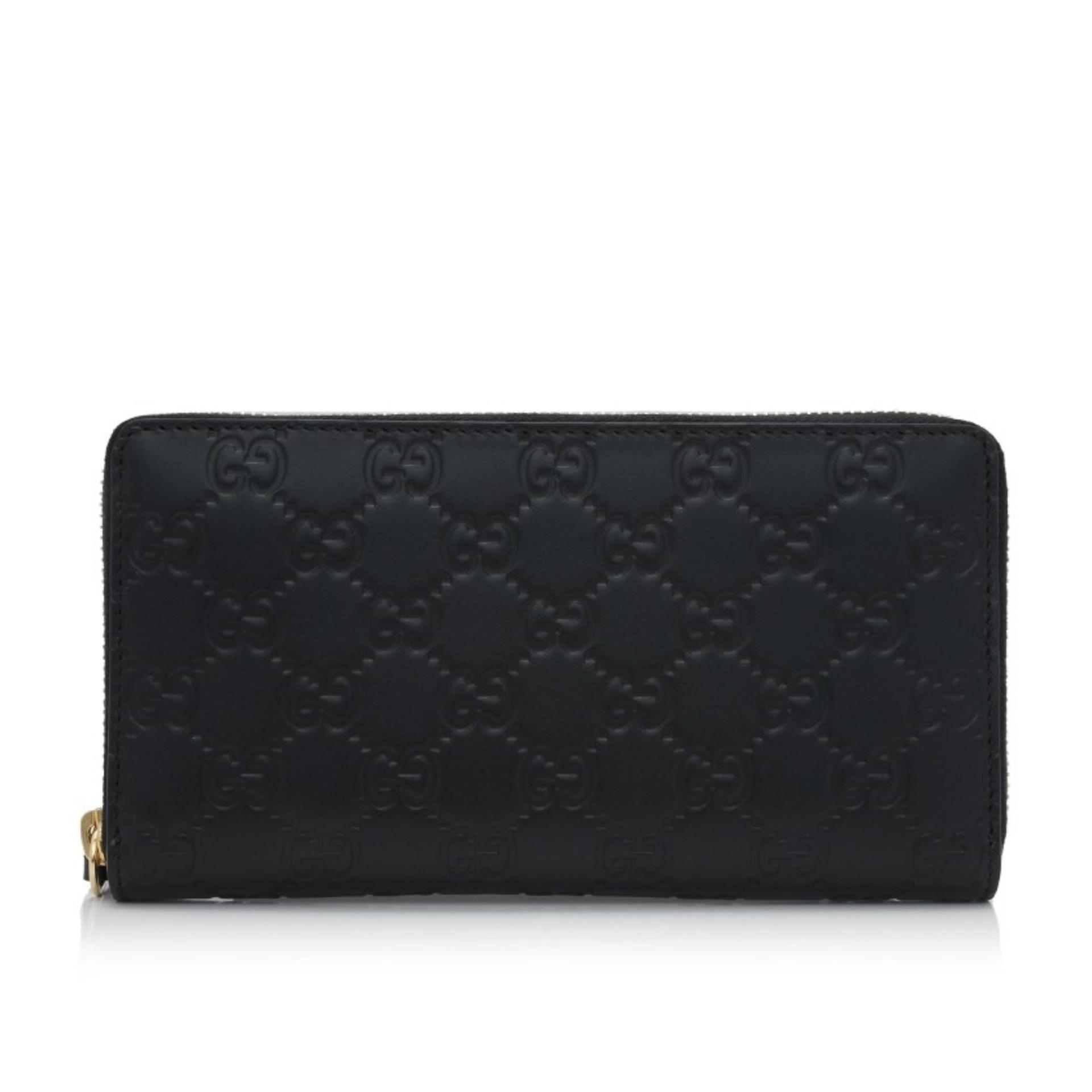 f2a73cf808a Gucci Signature Zip Around Wallet (Black)   410102CWC1G1000