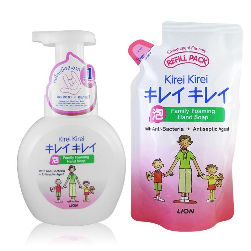 Kirei Kirei Family Foaming Hand Soap 250Ml Pump And 200Ml Refill Anti Bacteria Bundle Of 3 Deal
