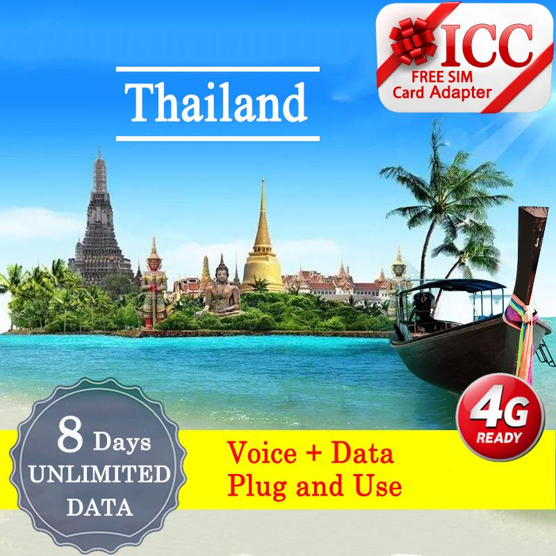 Icc[thailand Tourist Sim Card - 8 Days]---[dtac]---Unlimited Data Sim + Call By Icc.