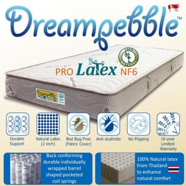 Dreampebble Pro Latex NF6 Mattress with Anti-Bed Bug & 2  Full Natural Latex