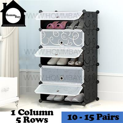 DIY Shoe Shoes Rack Storage Drawers Multi Purpose Modular Organizer Plastic Cabinets I BFTWF Series I 1 Column 5 Rows