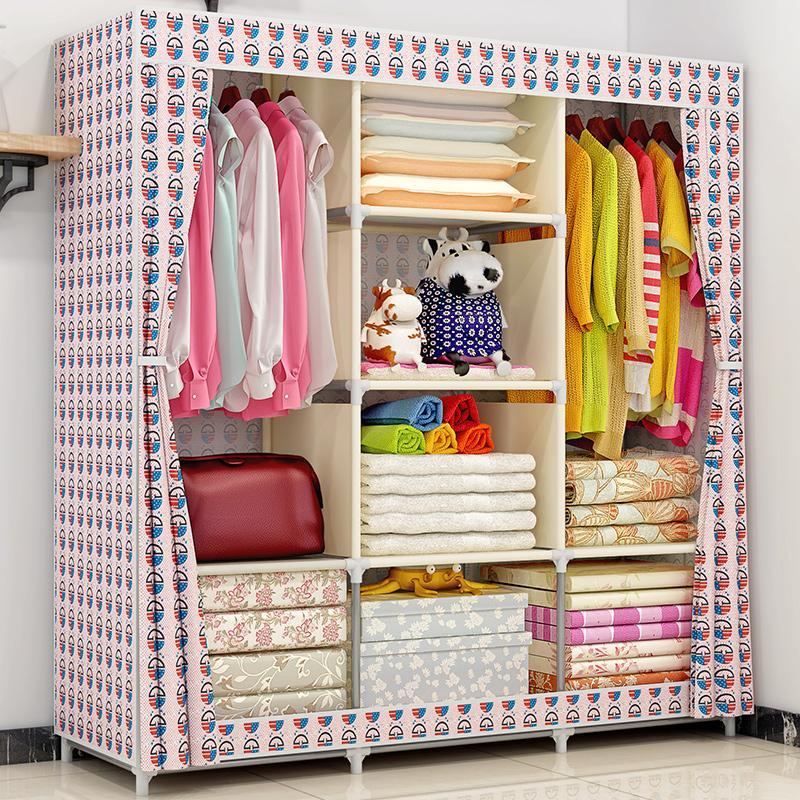 MWT1 Folding Cloth Wardrobe Storage Assembly Fabric Economy Double Minimalist Modern Cabinet Simplicity Cloth Wardrobe