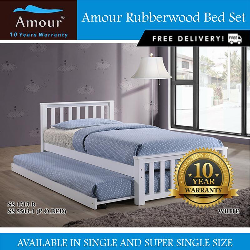 Amour® Solid Wood Single size Wooden bed with Single Size pull out bed Free delivery 10 Years Warrranty