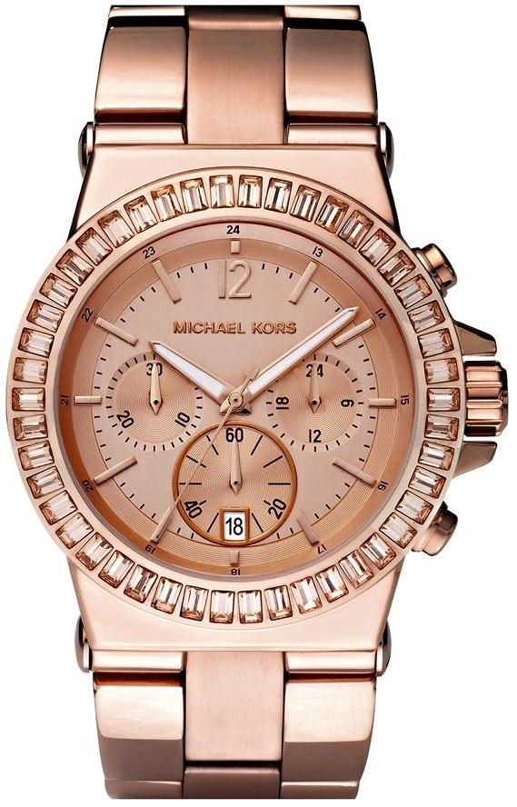 Michael Kors Rose Gold-Tone Baguette Bezel Chronograph 43mm Ladies Watch Mk5412 By Watch Centre.