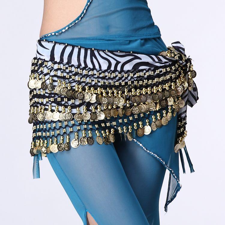 Feimei Belly Dance Waist Chain 248 Gold Coin Zebra-stripe Waist Scarf Chiffon Belt Beginners the Increase Dancing Chain