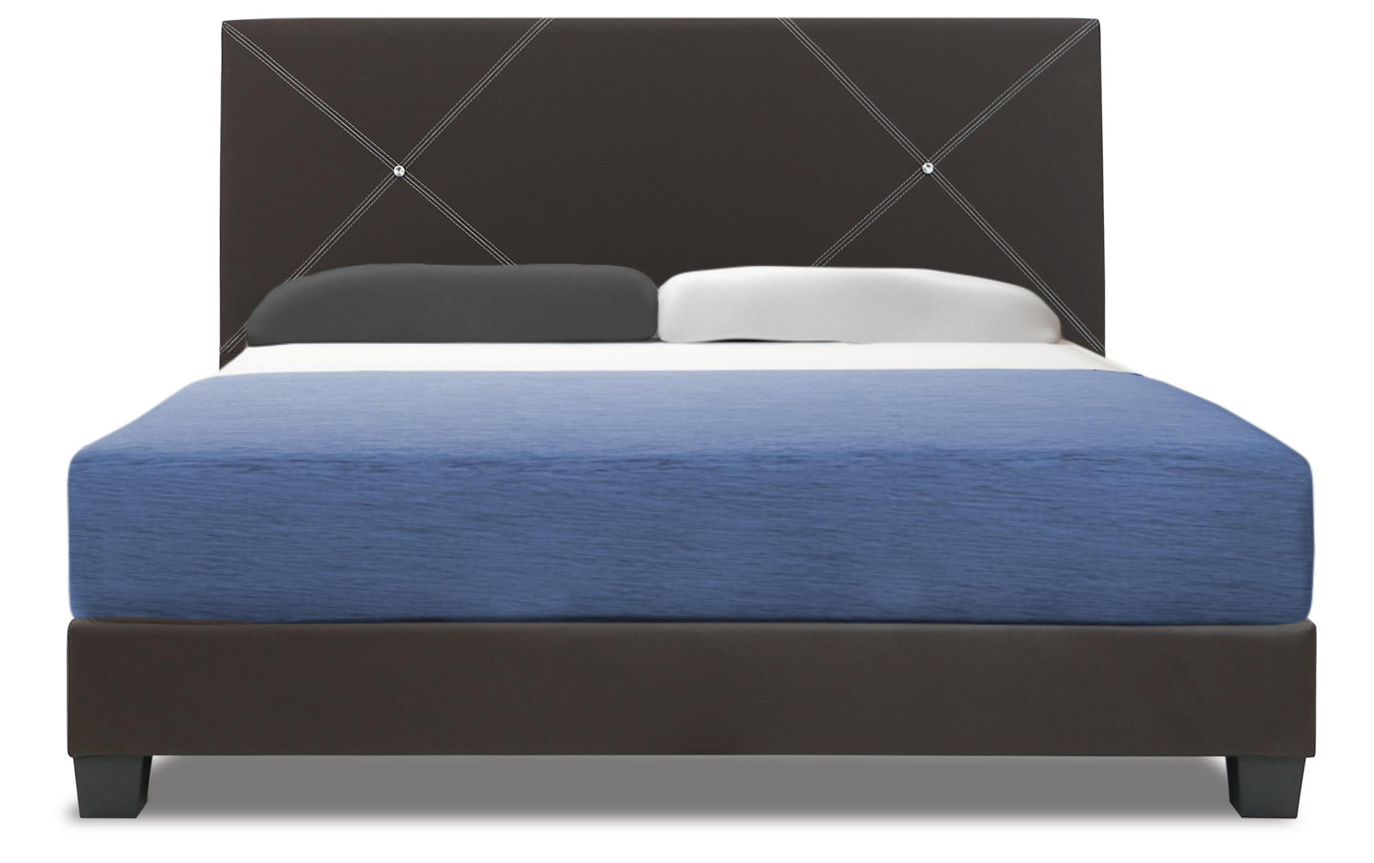 A-STAR Bejeweled Faux Leather Bed frame Set in Queen Size (mattress included)