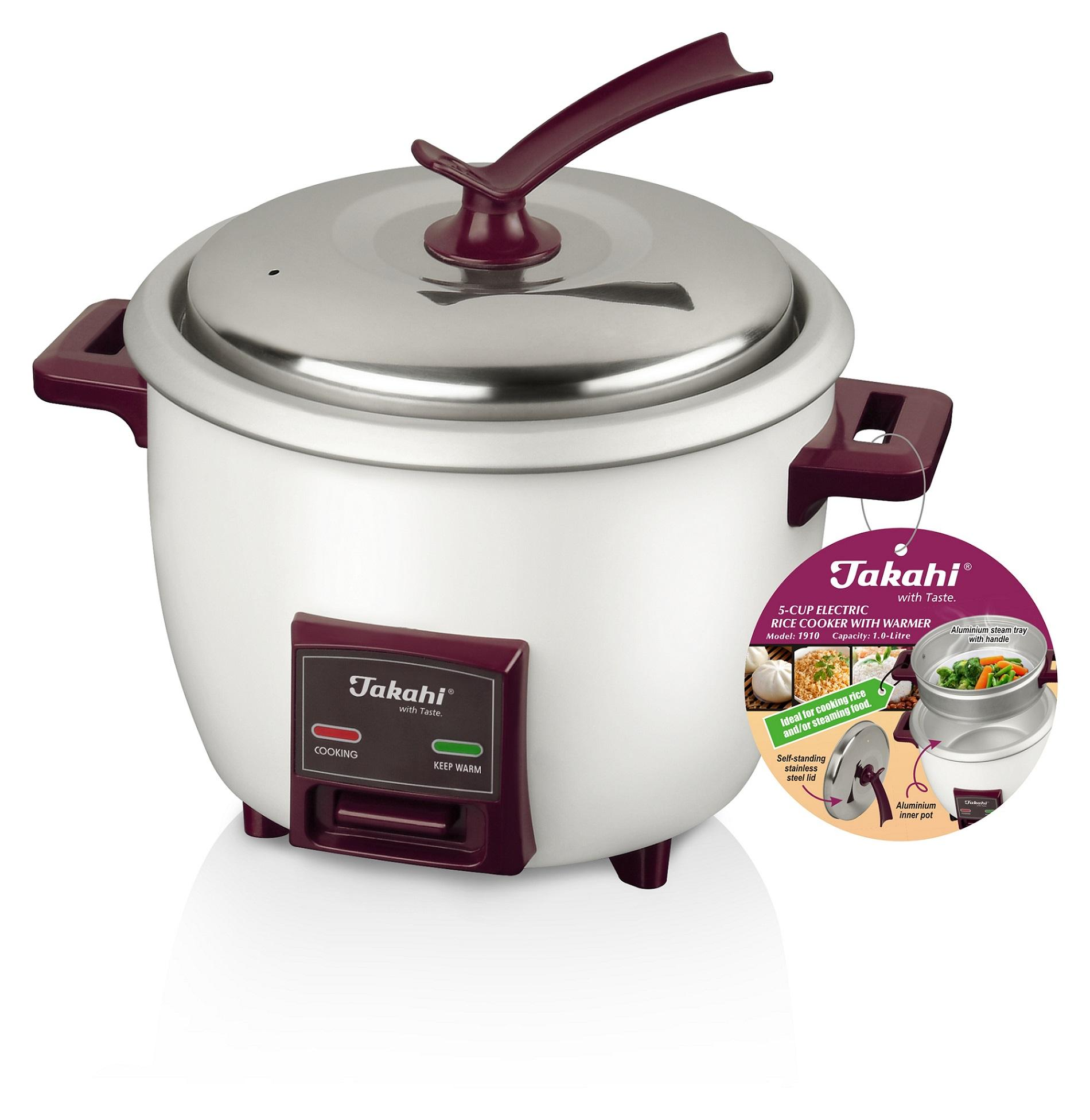 Takahi 5-Cup (1.0-Litre) Electric Rice Cooker with Warmer and Steamer