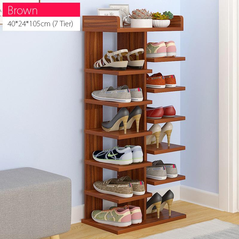7 Tier Sleek Design Wooden Shoe Rack(Brown)