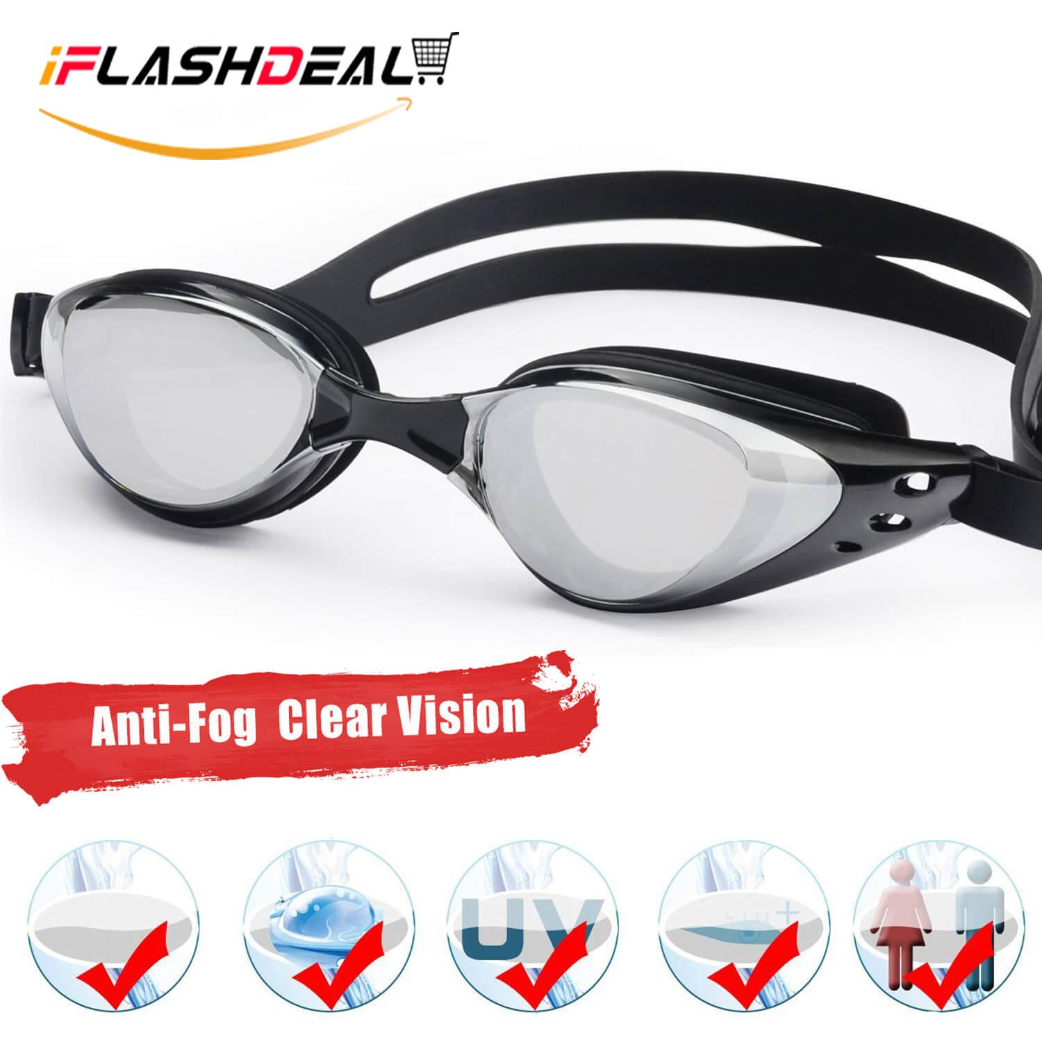 0bb9ee11a85e iFlashDeal Swimming Goggles Swim Goggles UV 400 Protection Anti Fog No  Leaking Wide View Pool Goggles
