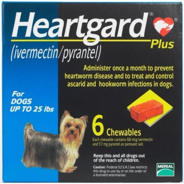 Heartgard Plus for dogs up to 25lbs BLUE MADE IN USA